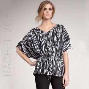 Rachel Zoe Anita animal print ruched sleeve top- 4